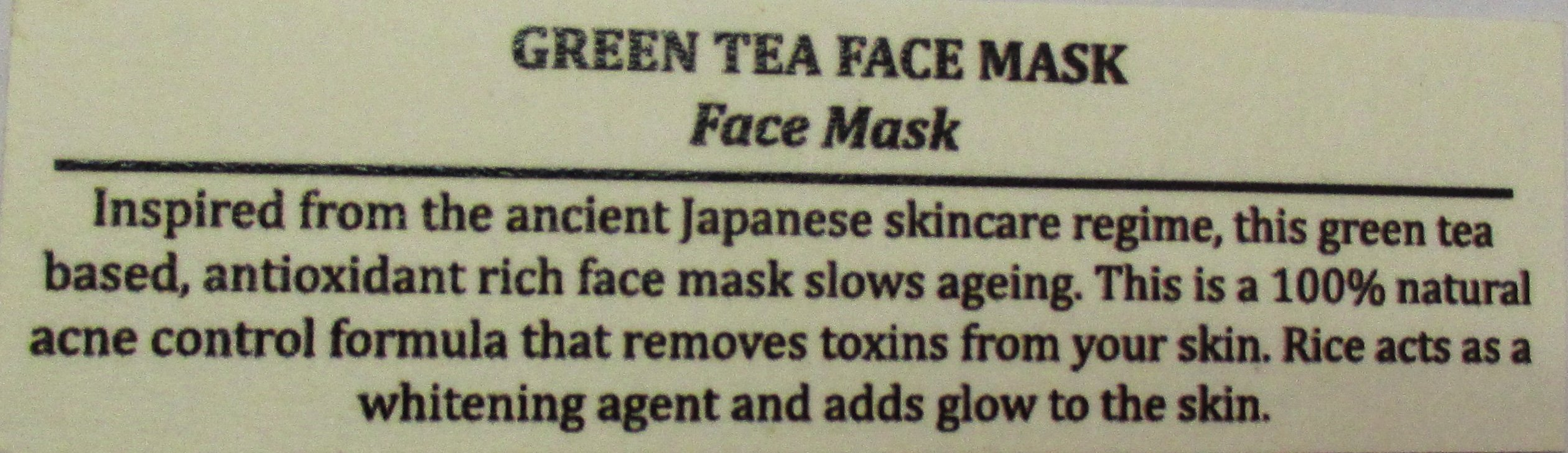 Skin Yoga Green Tea Face Mask Description