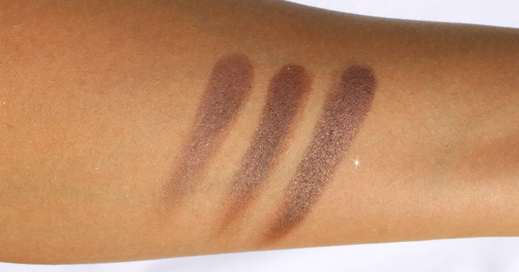 Swatches of Last row with shades Chocolate Brown Cocoa Shimmer and Bronze Gleam