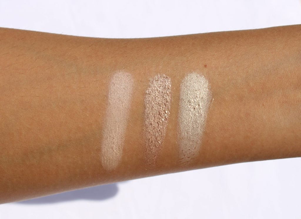 Swatches of Top Row with shades Sheer Sand and Metal Mauve and Petal