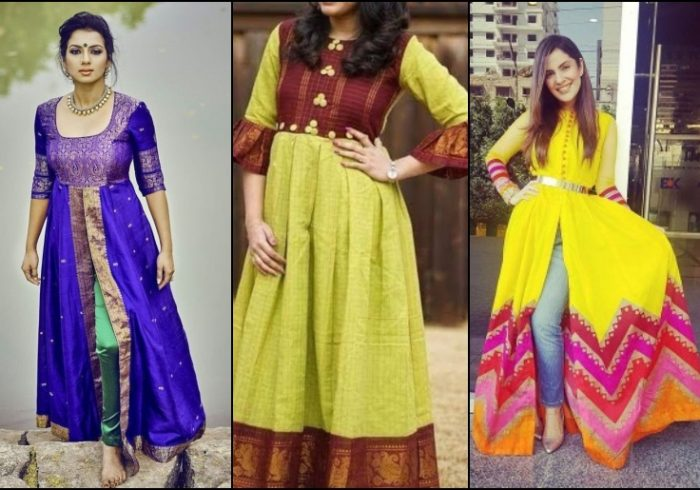 Old sarees converted into fancy designer kurtis