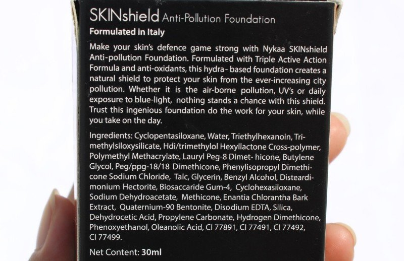 Ingredients of nykaa skinshield foundation
