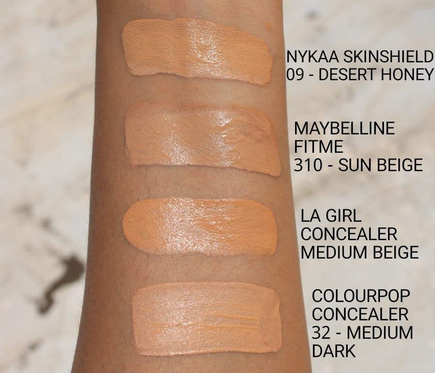 swatches of nykaa skinshield anti pollution foundation
