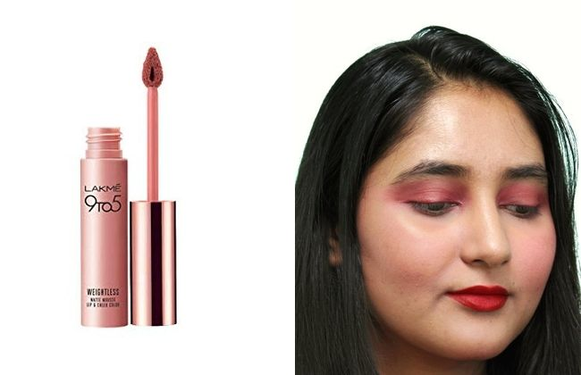 Lakme 9to5 Weightless Mousse Lip and Cheek Color in Crimson Silk for Fall