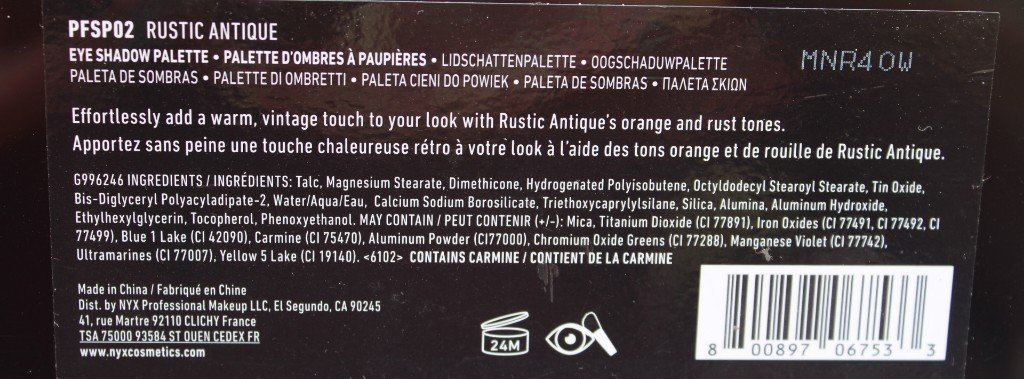 NYX Perfect Filter Rustic Antique Ingredients Contains Carmine
