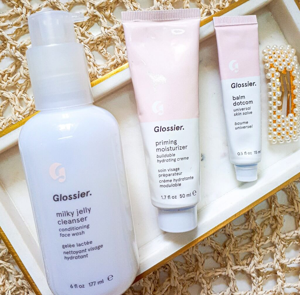 glossier milk jelly cleanser balm dot com and primer review